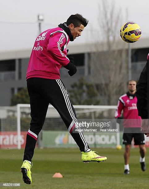 Cristiano Ronaldo of Real Madrid in action during a training session at Valdebebas training ground on February 12 2015 in Madrid Spain
