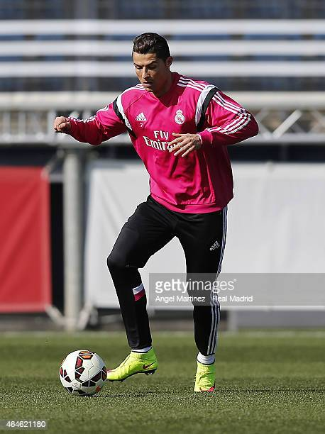 Cristiano Ronaldo of Real Madrid in action during a training session at Valdebebas training ground on February 27 2015 in Madrid Spain