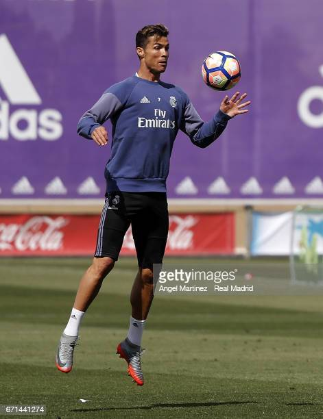 Cristiano Ronaldo of Real Madrid in action during a training session at Valdebebas training ground on April 22 2017 in Madrid Spain