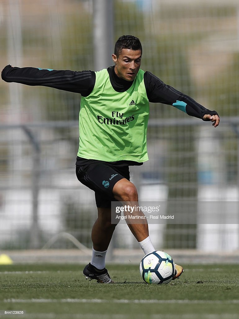 Cristiano Ronaldo of Real Madrid in action during a training session at Valdebebas training ground on September 8, 2017 in Madrid, Spain.