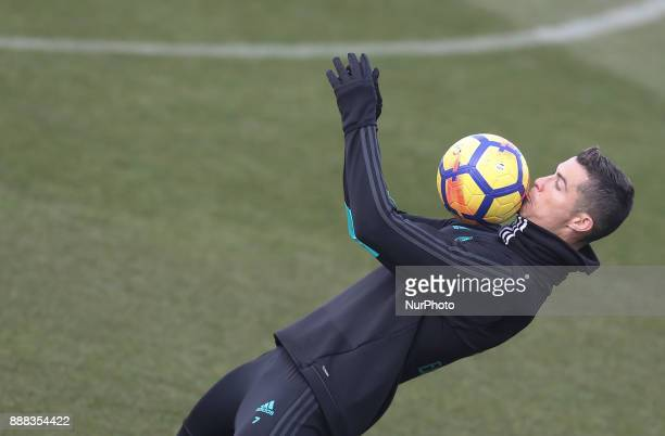 Cristiano Ronaldo of Real Madrid in action during a training session at Valdebebas training ground on December 8 2017 in Madrid Spain