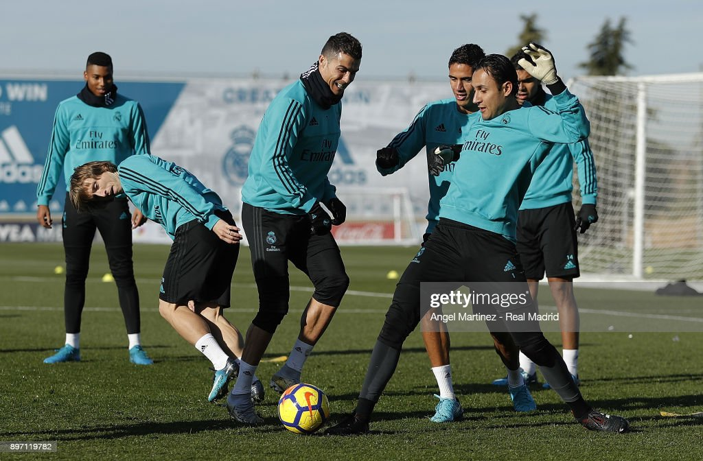 Cristiano Ronaldo (C) of Real Madrid in action during a training session at Valdebebas training ground on December 22, 2017 in Madrid, Spain.