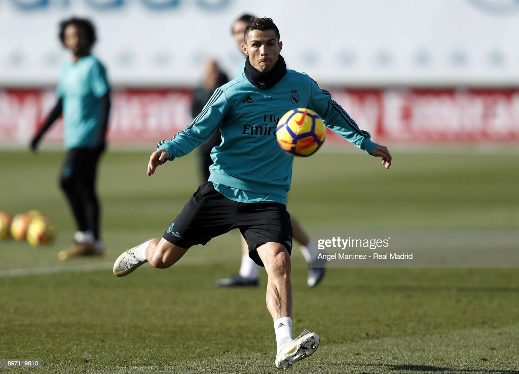 Cristiano Ronaldo of Real Madrid in action during a training session at Valdebebas training ground on December 22, 2017 in Madrid, Spain.