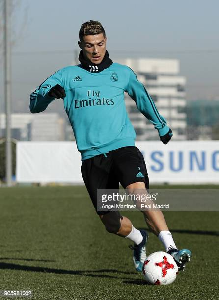 Cristiano Ronaldo of Real Madrid in action during a training session at Valdebebas training ground on January 17 2018 in Madrid Spain
