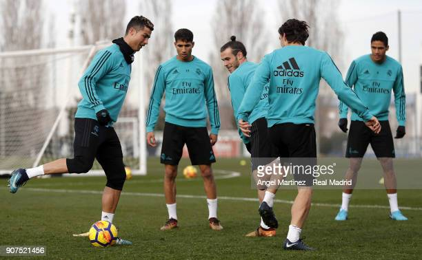 Cristiano Ronaldo of Real Madrid in action during a training session at Valdebebas training ground on January 20 2018 in Madrid Spain