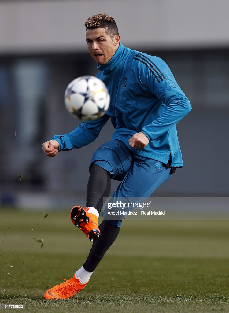 Cristiano Ronaldo of Real Madrid in action during a training session at Valdebebas training ground on February 13, 2018 in Madrid, Spain.