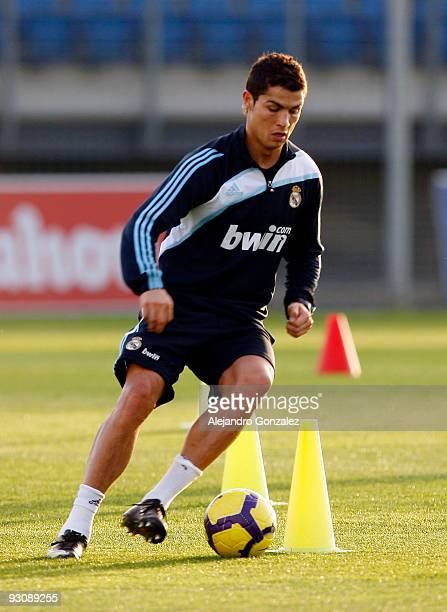 Cristiano Ronaldo of Real Madrid in action during a training session at Valdebebas on November 16 2009 in Madrid Spain