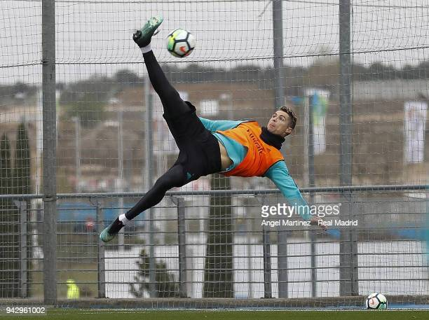 Cristiano Ronaldo of Real Madrid in action during a training session at Valdebebas training ground on April 7 2018 in Madrid Spain