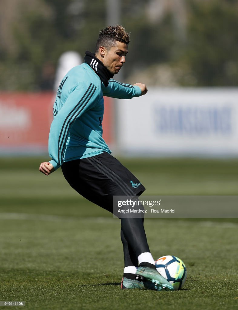 Cristiano Ronaldo of Real Madrid in action during a training session at Valdebebas training ground on April 14, 2018 in Madrid, Spain.