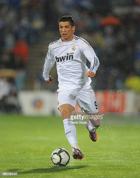 Cristiano Ronaldo of Real Madrid in action during La Liga match between Getafe and Real Madrid at the Coliseum Alfonso Perez stadium on March 25 2010...