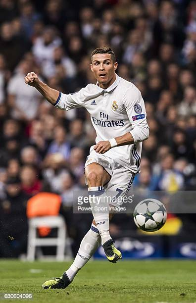 Cristiano Ronaldo of Real Madrid in action during the 201617 UEFA Champions League match between Real Madrid and Borussia Dortmund at the Santiago...