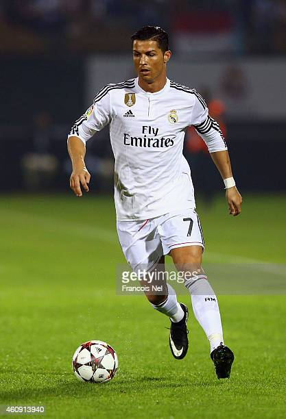 Cristiano Ronaldo of Real Madrid in action during the Dubai Football Challenge match between AC Milan and Real Madrid at The Sevens Stadium on...