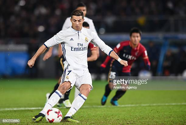 Cristiano Ronaldo of Real Madrid in action during the FIFA Club World Cup final match between Real Madrid and Kashima Antlers at International...
