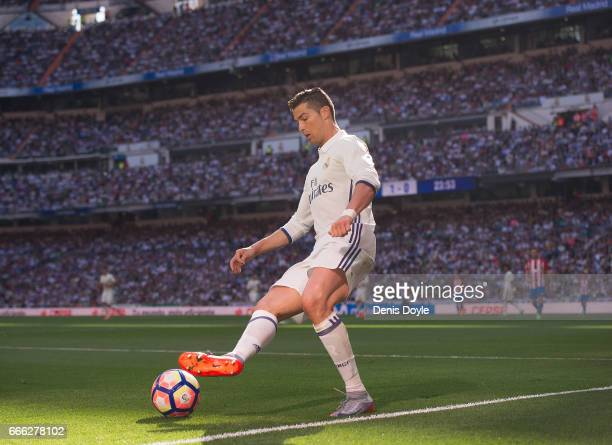 Cristiano Ronaldo of Real Madrid in action during the La Liga 123 match between Rayo Vallecano and CD Tenerife at Estadio de Vallecas on April 8 2017...