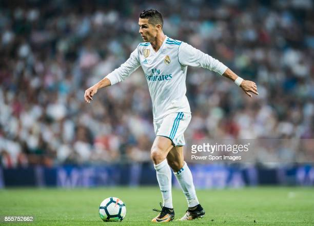 Cristiano Ronaldo of Real Madrid in action during the La Liga 201718 match between Real Madrid and Real Betis at Estadio Santiago Bernabeu on 20...