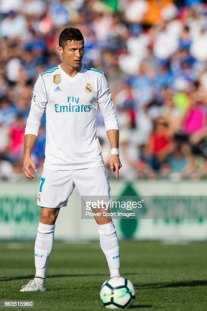 Cristiano Ronaldo of Real Madrid in action during the La Liga 201718 match between Getafe CF and Real Madrid at Coliseum Alfonso Perez on 14 October...