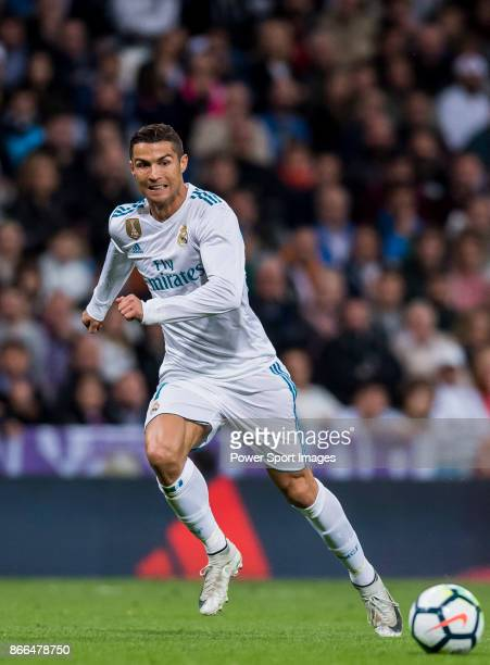Cristiano Ronaldo of Real Madrid in action during the La Liga 201718 match between Real Madrid and SD Eibar at Estadio Santiago Bernabeu on 22...