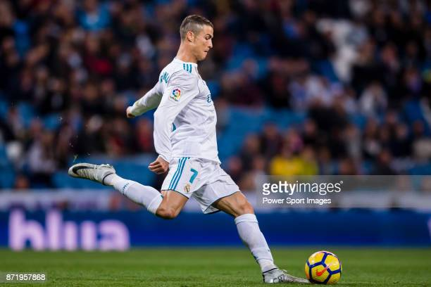 Cristiano Ronaldo of Real Madrid in action during the La Liga 201718 match between Real Madrid and UD Las Palmas at Estadio Santiago Bernabeu on...
