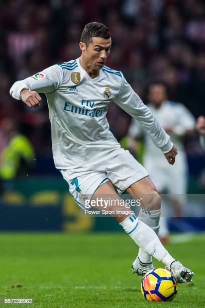 Cristiano Ronaldo of Real Madrid in action during the La Liga 201718 match between Atletico de Madrid and Real Madrid at Wanda Metropolitano on...