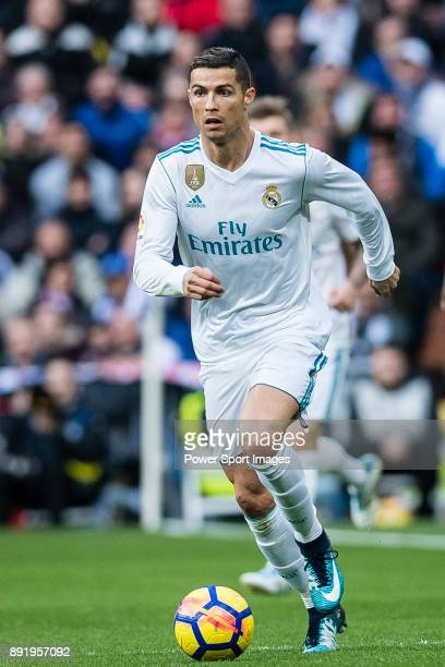 Cristiano Ronaldo of Real Madrid in action during the La Liga 201718 match between Real Madrid and Sevilla FC at Santiago Bernabeu Stadium on 09...