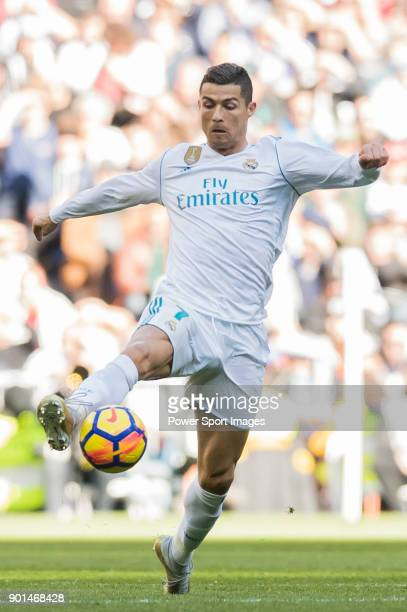 Cristiano Ronaldo of Real Madrid in action during the La Liga 201718 match between Real Madrid and FC Barcelona at Santiago Bernabeu Stadium on...