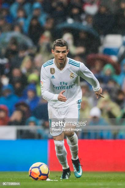 Cristiano Ronaldo of Real Madrid in action during the La Liga 201718 match between Real Madrid and Villarreal CF at Santiago Bernabeu Stadium on...