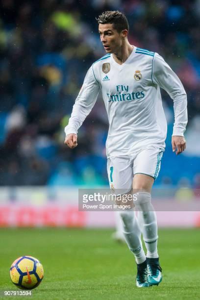 Cristiano Ronaldo of Real Madrid in action during the La Liga 201718 match between Real Madrid and Villarreal CF at Santiago Bernabeu Stadium on...