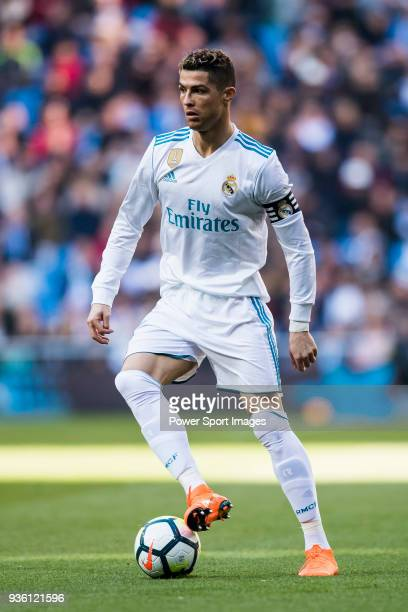 Cristiano Ronaldo of Real Madrid in action during the La Liga 201718 match between Real Madrid and Deportivo Alaves at Santiago Bernabeu Stadium on...