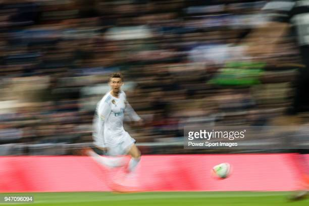 Cristiano Ronaldo of Real Madrid in action during the La Liga 201718 match between Real Madrid and Girona FC at Estadio Santiago Bernabéu on March 18...