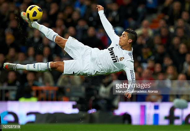 Cristiano Ronaldo of Real Madrid in action during the la liga match between Real Madrid and Athletic Bilbao at Estadio Santiago Bernabeu on November...