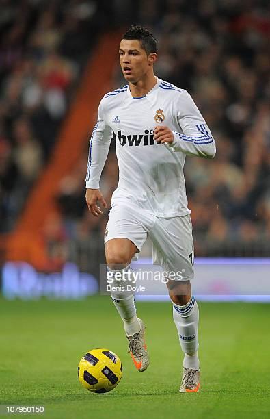 Cristiano Ronaldo of Real Madrid in action during the La Liga match between Real Madrid and Villarreal at Estadio Santiago Bernabeu on January 9,...