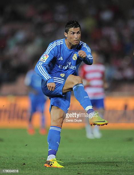 Cristiano Ronaldo of Real Madrid in action during the La Liga match between Granada CF and Real Madrid CF at Estadio Nuevo Los Carmenes on August 26...