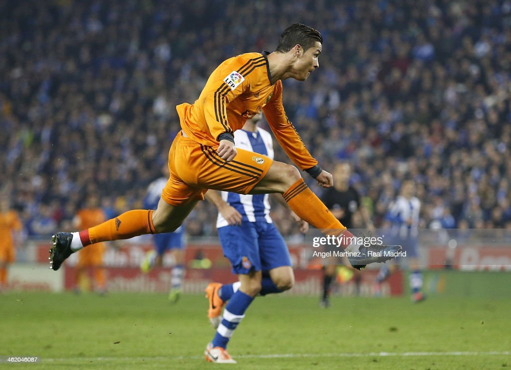 Cristiano Ronaldo of Real Madrid in action during the La Liga match between RCD Espanyol and Real Madrid at Cornella-El Prat Stadium on January 12, 2014 in Barcelona, Spain.