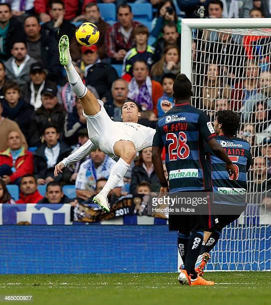 Cristiano Ronaldo of Real Madrid in action during the La Liga match between Real Madrid and Granada CF at Estadio Santiago Bernabeu on January 25...
