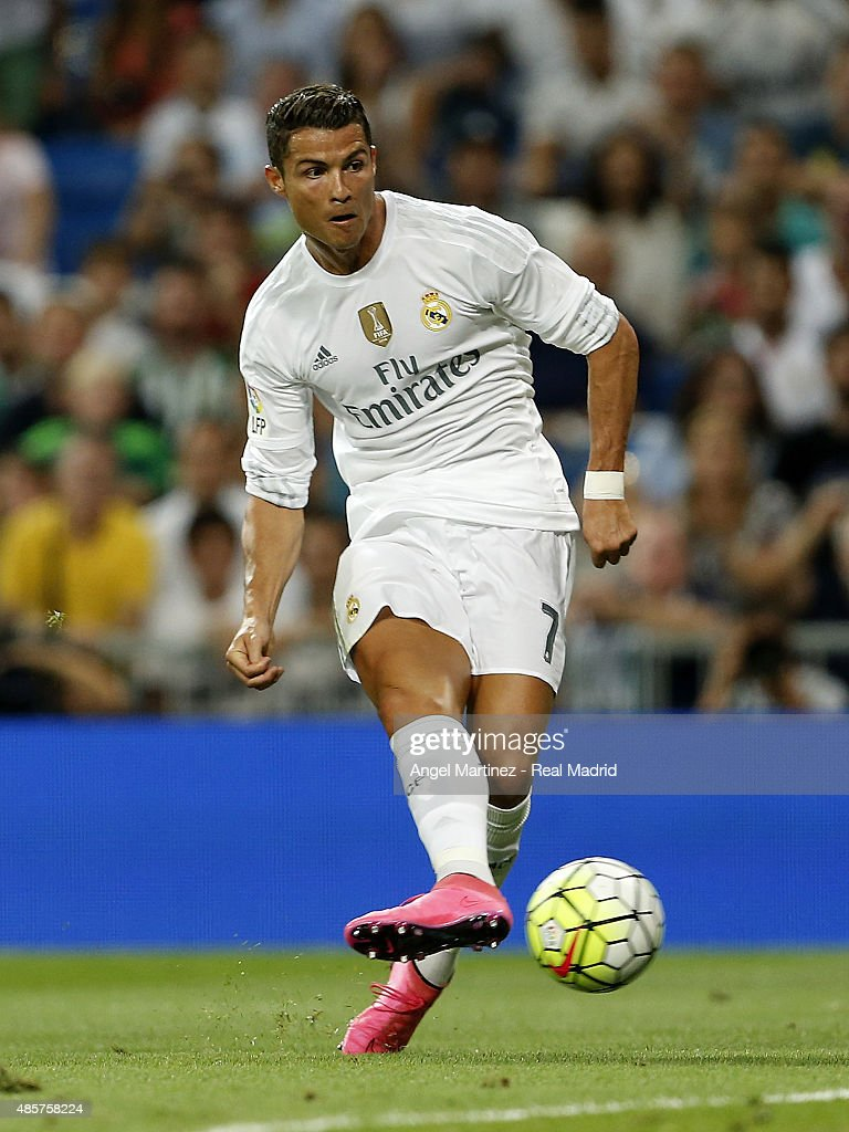 Cristiano Ronaldo of Real Madrid in action during the La Liga match between Real Madrid CF and Real Betis Balompie at Estadio Santiago Bernabeu on August 29, 2015 in Madrid, Spain.