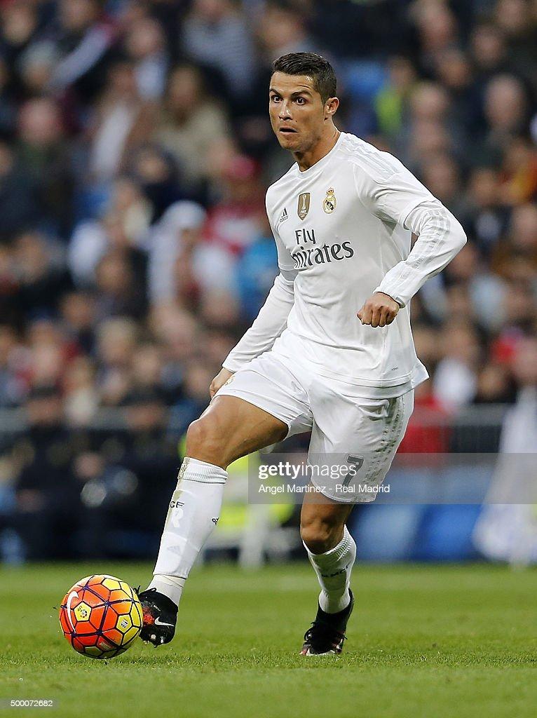 Cristiano Ronaldo of Real Madrid in action during the La Liga match between Real Madrid CF and Getafe CF at Estadio Santiago Bernabeu on December 5, 2015 in Madrid, Spain.