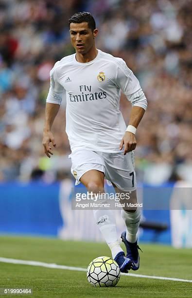 Cristiano Ronaldo of Real Madrid in action during the La Liga match between Real Madrid CF and SD Eibar at Estadio Santiago Bernabeu on April 9 2016...
