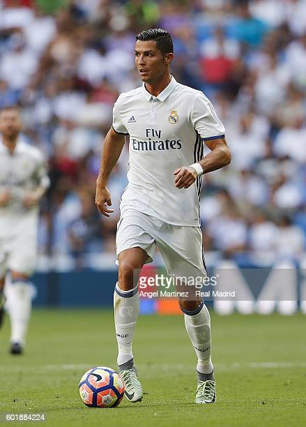 Cristiano Ronaldo of Real Madrid in action during the La Liga match between Real Madrid CF and CA Osasuna at Estadio Santiago Bernabeu on September...