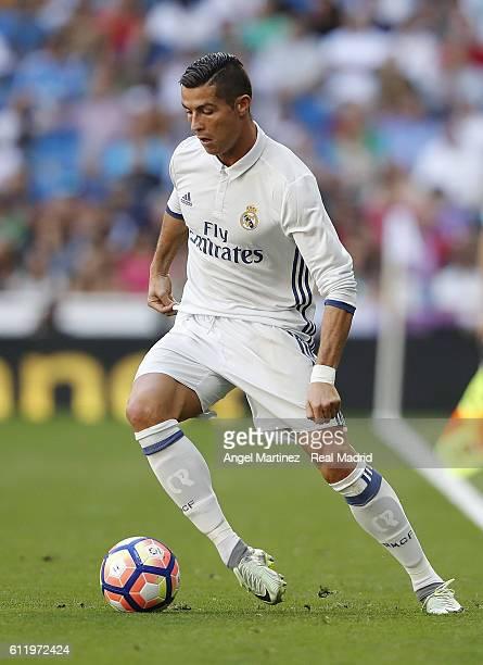 Cristiano Ronaldo of Real Madrid in action during the La Liga match between Real Madrid CF and SD Eibar at Estadio Santiago Bernabeu on October 2...