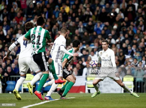 Cristiano Ronaldo of Real Madrid in action during the La Liga football match between Real Madrid and Real Betis at Santiago Bernabeu Stadium in...