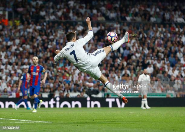 Cristiano Ronaldo of Real Madrid in action during the La Liga match between Real Madrid CF and Barcelona at Santiago Bernabeu on April 23 2017 in...