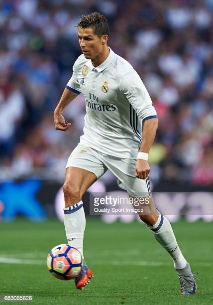 Cristiano Ronaldo of Real Madrid in action during the La Liga match between Real Madrid CF and Sevilla CF at Estadio Santiago Bernabeu on May 14 2017...