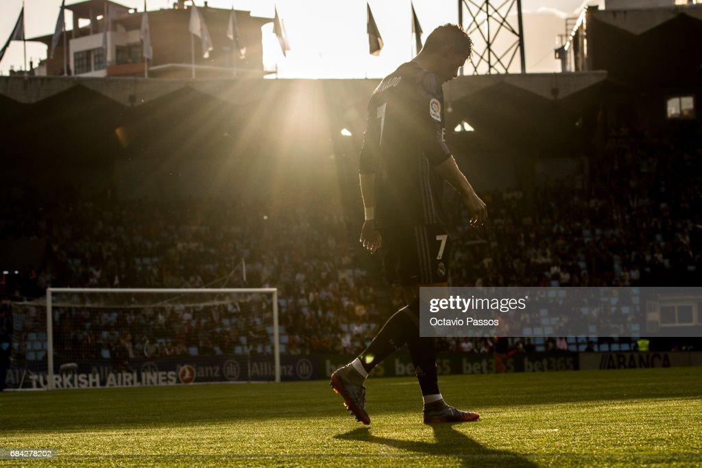 Cristiano Ronaldo of Real Madrid in action during the La Liga match, between Celta Vigo and Real Madrid at Estadio Balaidos on May 17, 2017 in Vigo, Spain.