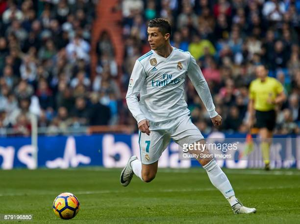 Cristiano Ronaldo of Real Madrid in action during the La Liga match between Real Madrid and Malaga at Estadio Santiago Bernabeu on November 25 2017...