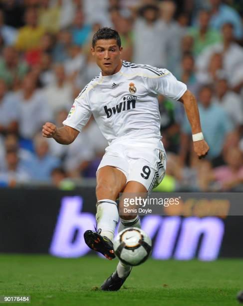 Cristiano Ronaldo of Real Madrid in action during the La Liga match between Real Madrid and Deportivo La Coruna at the Santiago Bernabeu stadium on...