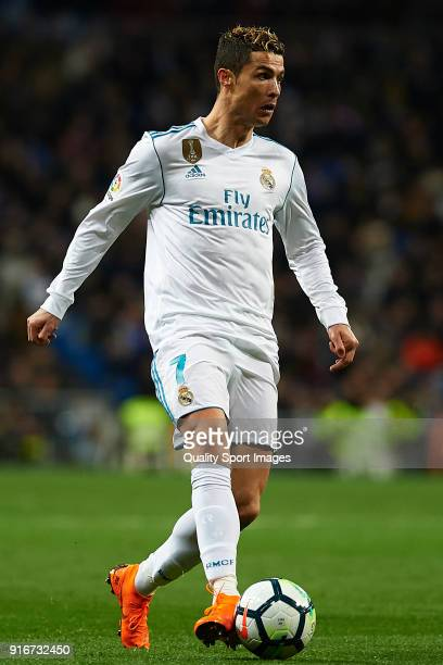 Cristiano Ronaldo of Real Madrid in action during the La Liga match between Real Madrid and Real Sociedad at Estadio Santiago Bernabeu on February 10...