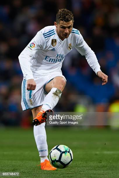 Cristiano Ronaldo of Real Madrid in action during the La Liga match between Real Madrid and Girona at Estadio Santiago Bernabeu on March 18 2018 in...