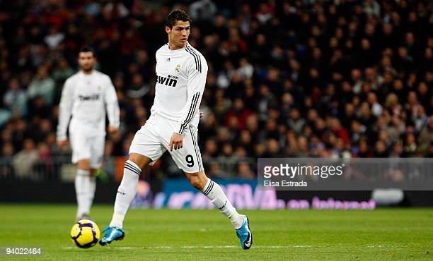 Cristiano Ronaldo of Real Madrid in action during the La Liga match between Real Madrid and UD Almeria at Estadio Santiago Bernabeu on December 5,...