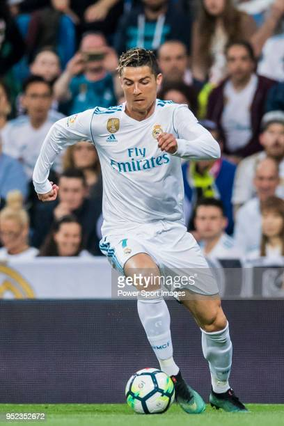Cristiano Ronaldo of Real Madrid in action during the La Liga match between Real Madrid and Athletic Club at Estadio Santiago Bernabeu on April 18...