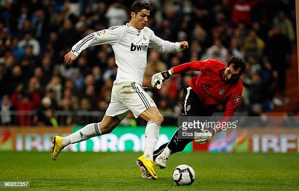 Cristiano Ronaldo of Real Madrid in action during the La Liga match between Real Madrid and Villarreal at Estadio Santiago Bernabeu on February 21...